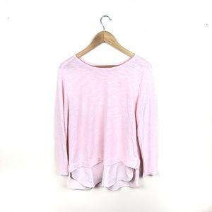 J crew Factory medium pink knit blouse chiffon hem